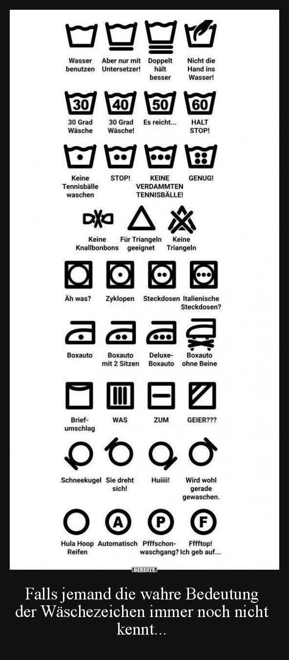 Falls Jemand Die Wahre Bedeutung Der Waschezeichen Lustige