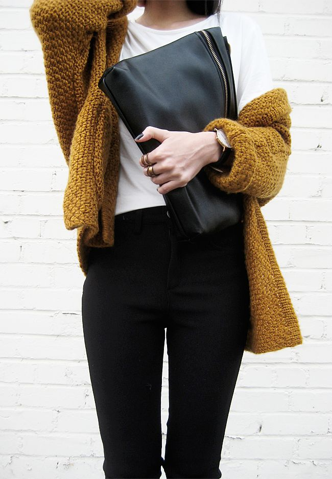 chunky knit sweater . black pants . white tee - perfect fall outfit
