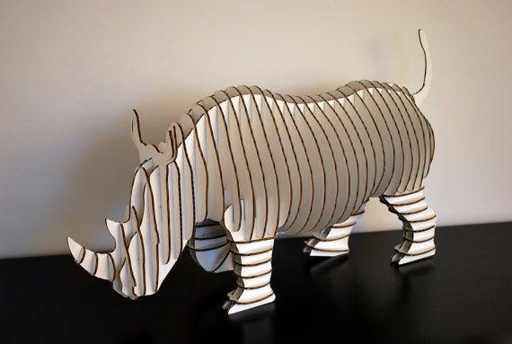 Rambling Robbie Giant Full Body Rhino  White or by CardboardSafari, $200.00