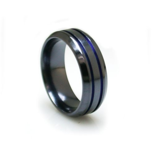 Black Titanium Bevelled Ring, blue anodised channels | Alpha Rings