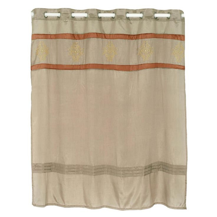 Radcliff Embroidered 72 in. Taupe (Brown) Shower Curtain