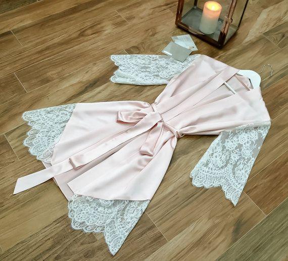 Bridal Robe/Silk Robe/Wedding Robe/Short Silk Robe/Lace sleeve Robe.  Luxurious…
