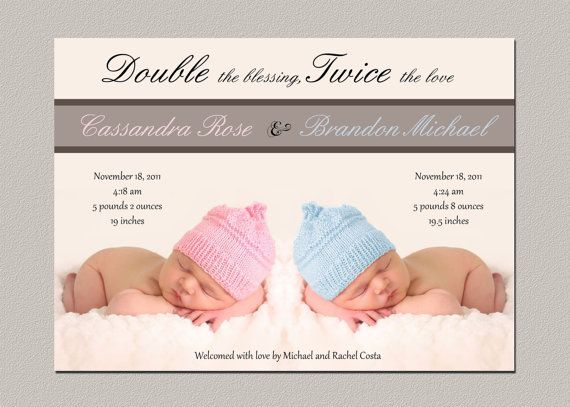 Digital Twin Birth Announcement / Printable Twin Baby Announcement / Printable Photo Card on Etsy, $15.00