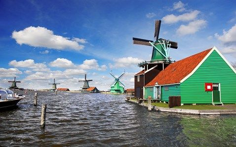 Zaanse Schans Amsterdam windmills. With a cheese shop and a dutch pancake house