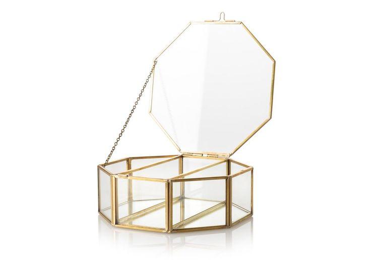 Octagon Gold & Glass Mirrored Jewellery Box