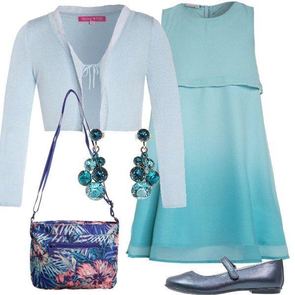 Primavera, tempo di cerimonie: ecco una proposta pensata per una ragazzina, con un vestito leggero celeste, da indossare con un cardigan corto. Le scarpe sono delle ballerine e la borsa a tracolla ha una fantasia allegra. Un paio di orecchini con gocce azzurre completano la composizione.