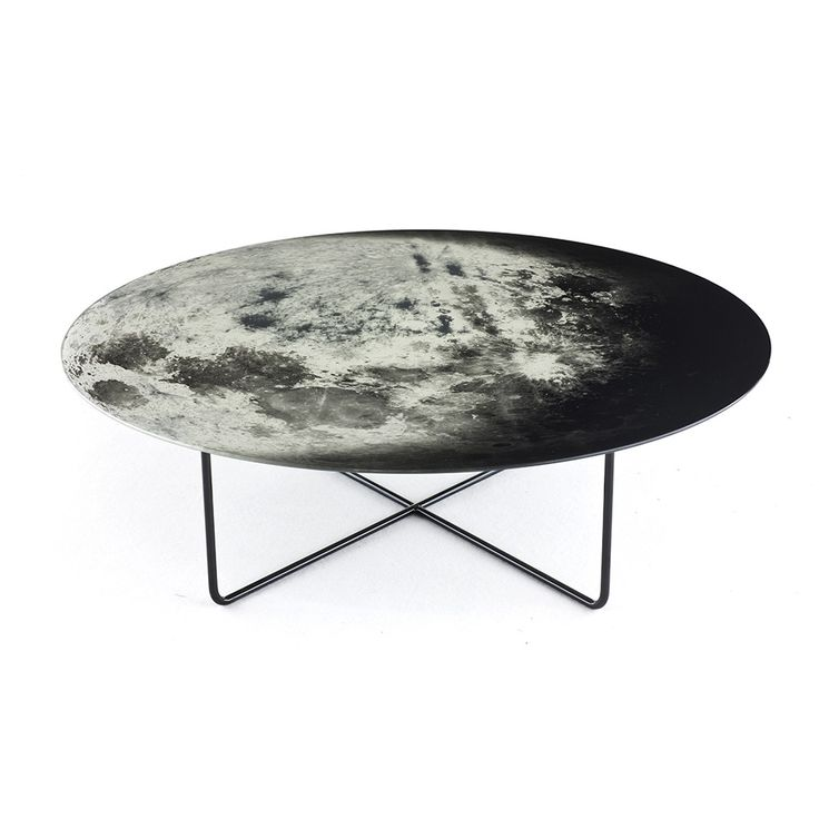 This My Moon My Mirror Table from Diesel Living with Moroso is the perfect way to create a stylishinterior. A large photographic print of the moon adorns its tempered glass mirror surface to form ...