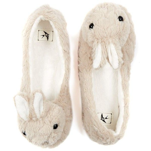 23bc36644faa2 Grey Rabbit Fluffy Slippers by None, via Polyvore | QuiRky Fashion ...
