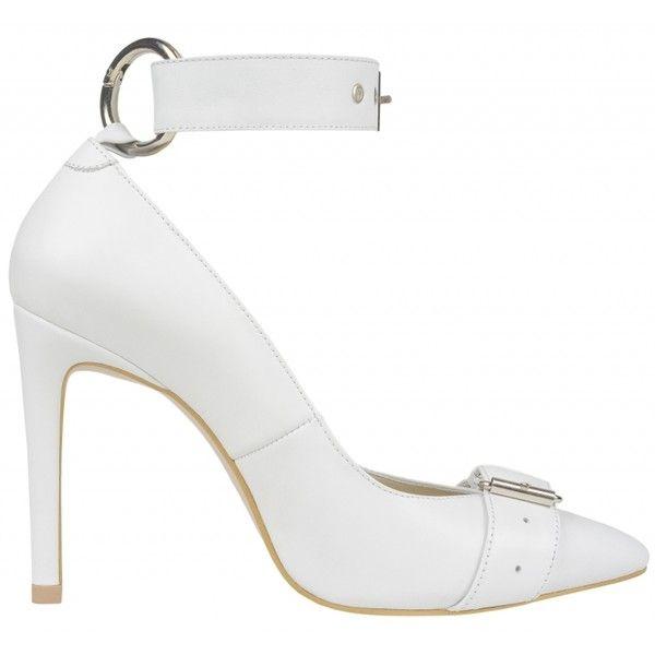 Nina Zarqua - White Pumps - Shoes ($382) ❤ liked on Polyvore featuring shoes, pumps, strappy shoes, strap shoes, white leather shoes, strappy pumps and high heeled footwear