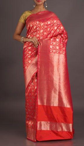 Neelima Bright Pink With Fine Ornate Real Zari Banarasi Brocade Silk Saree