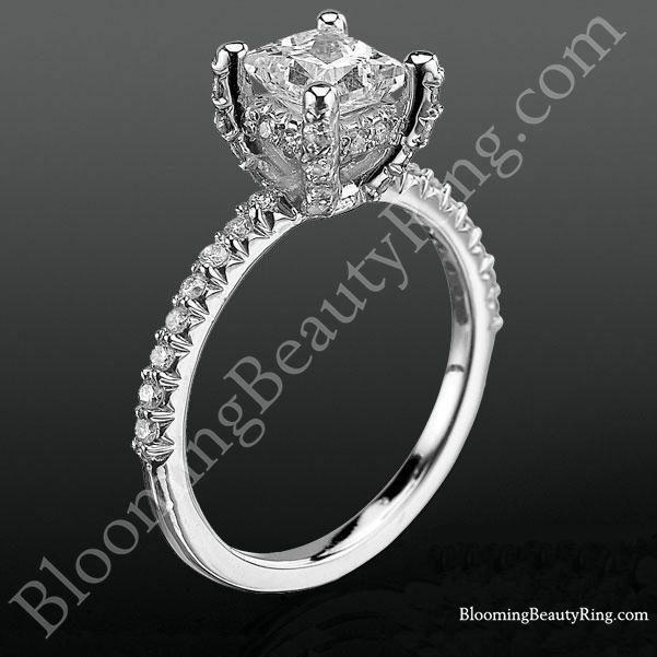 High Spirited Diamond Encrusted Unique Petite Engagement Ring