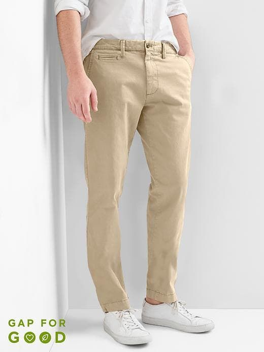 Vintage wash slim fit khakis with stretch