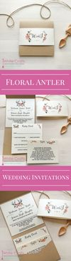 Floral antler pocket winter rustic country natural wedding invitations. peach pink coral blush flower wedding invites. www.whitecrafts.com #antlerwedding #winterwedding #floralweddinginvites #antlerweddinginvitations #winterweddinginvitations #floralantlers #weddinginvitationideas #winterweddinginvitationideas #rusticweddingideas #countryweddingideas #marqueewedding #tipiwedding #yurtwedding #woodlandwedding