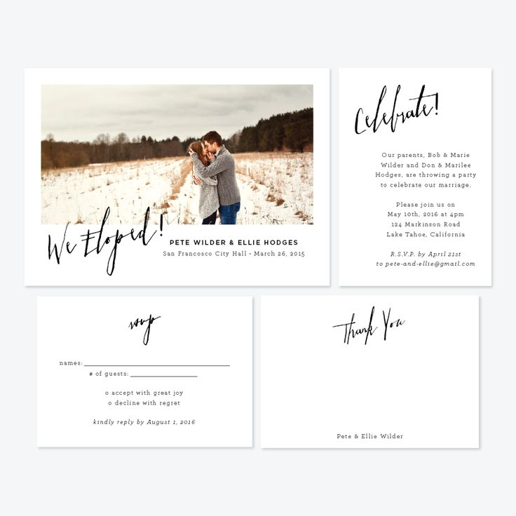 Angled Photo Elopement Announcement - One-Photo Elopement Announcement - Skipt Paper Co - 2