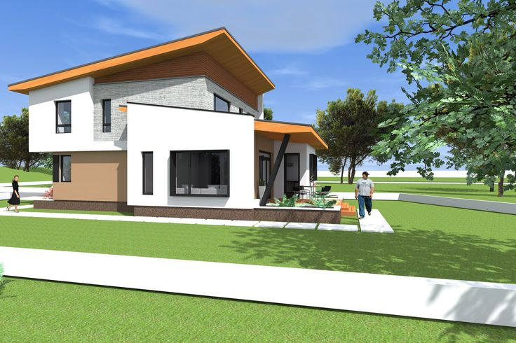 Proiect casa cu etaj 197 metri patrati  Model NC18. Arhitect Daniel Negru