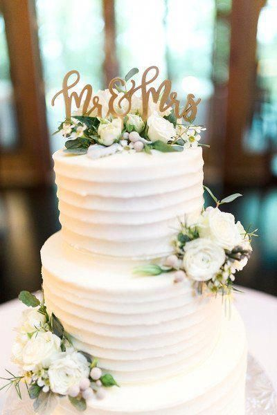 Classic Wedding Cake Idea Two Tier Buttercream Frosted