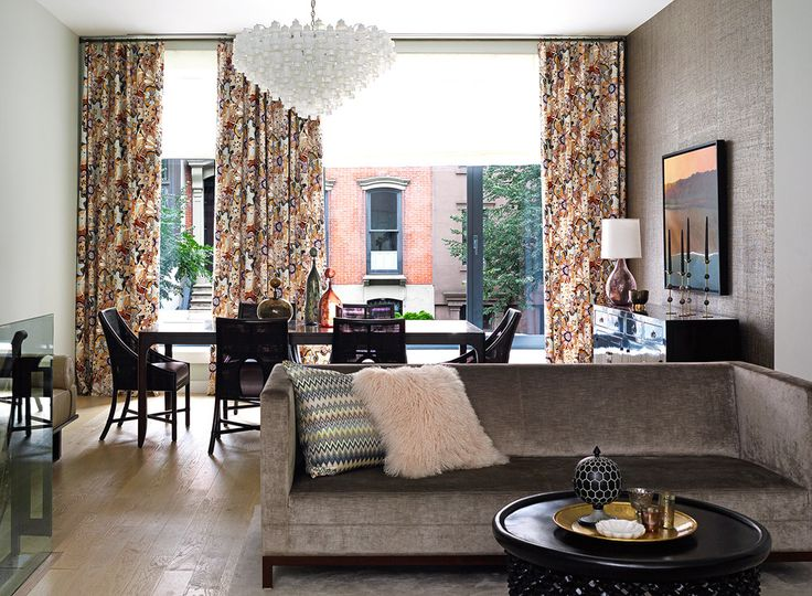 Brooklyn NY Townhouse Living Room With Missoni Window Treatment
