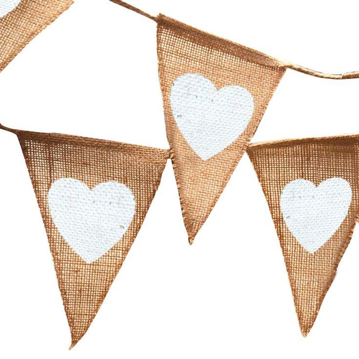 Goedkope 12 st/6 st jute touw vlas driehoekige Wimpel Verjaardagsfeestje Linnen Hart Jute Vlag Banner Bruiloft Interieur event supplies,…