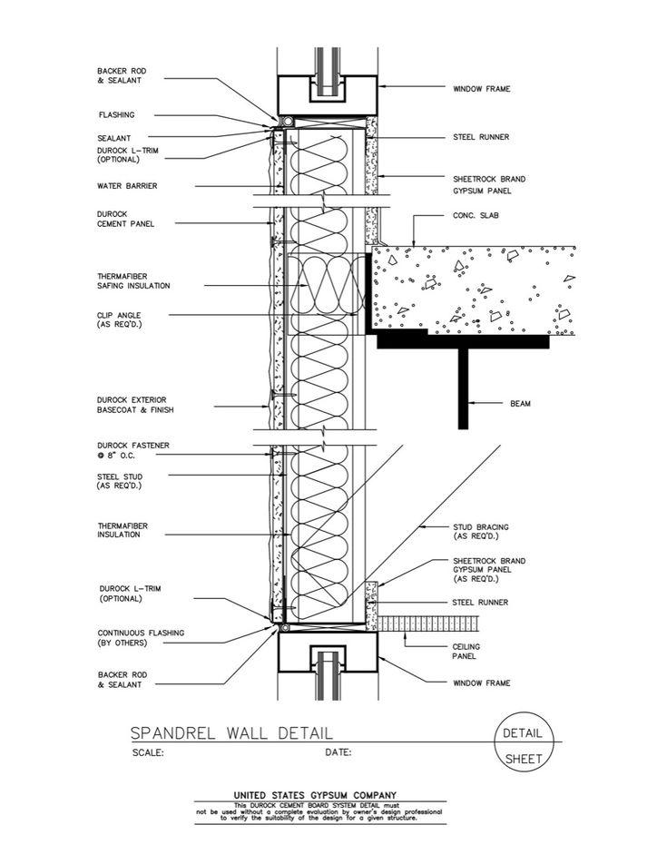 Curtain Wall Assembly : Spandrel curtain wall detail integralbook