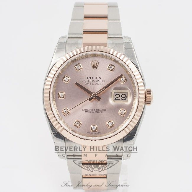 Rolex Datejust 36mm Stainless Steel and Rose Gold Oyster Bracelet Pink Champagne Diamond Dial Fluted Bezel Automatic Watch 116231