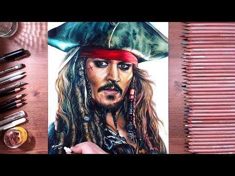 Speed Drawing: Johhny Depp as Captain Jack Sparrow in Dead Men Tell No Tales Movie | Jasmina Susak - YouTube