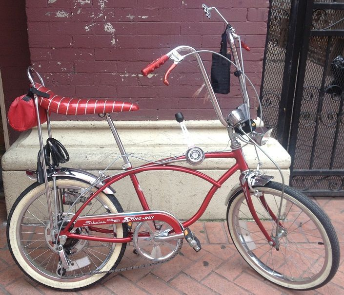 A customer's gorgeous Schwinn Sting-Ray 5 speed chopper bicycle with almost all the trimmings and great bright metal/chrome.