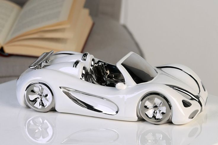 Porcelánové auto Cabriobielostrieborné