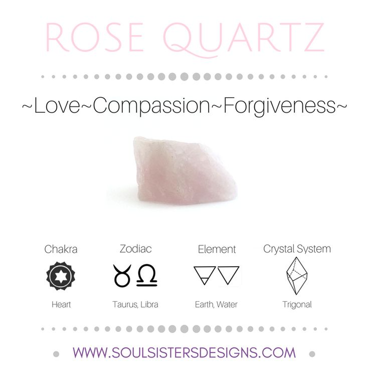 Metaphysical Healing Properties of Rose Quartz, including associated Chakra, Zodiac and Element, along with Crystal System/Lattice to assist you in setting up a Crystal Grid. Go to https://www.soulsistersdesigns.com/rose-quartz to learn more!