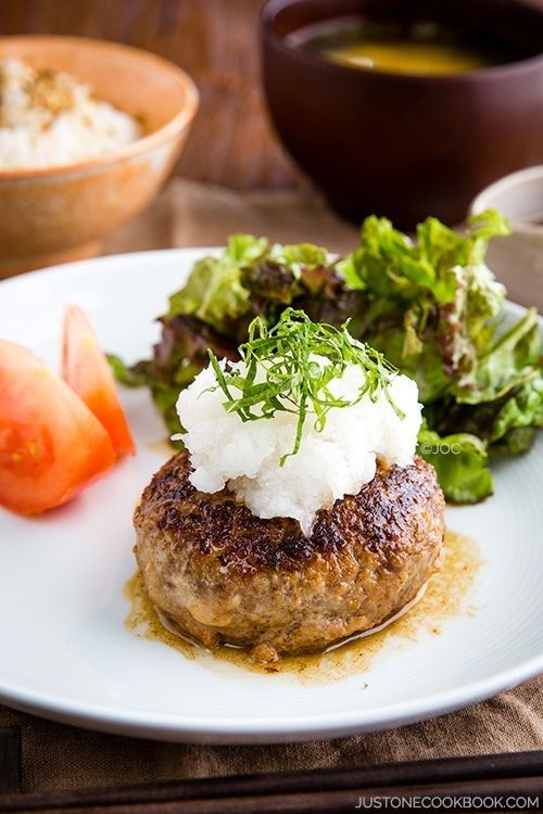 Simple, tasty, and easy-to-follow Japanese Hamburger Steak (Wafu Hambagu) recipe. Easy Japanese Recipes at www.justonecookbook.com
