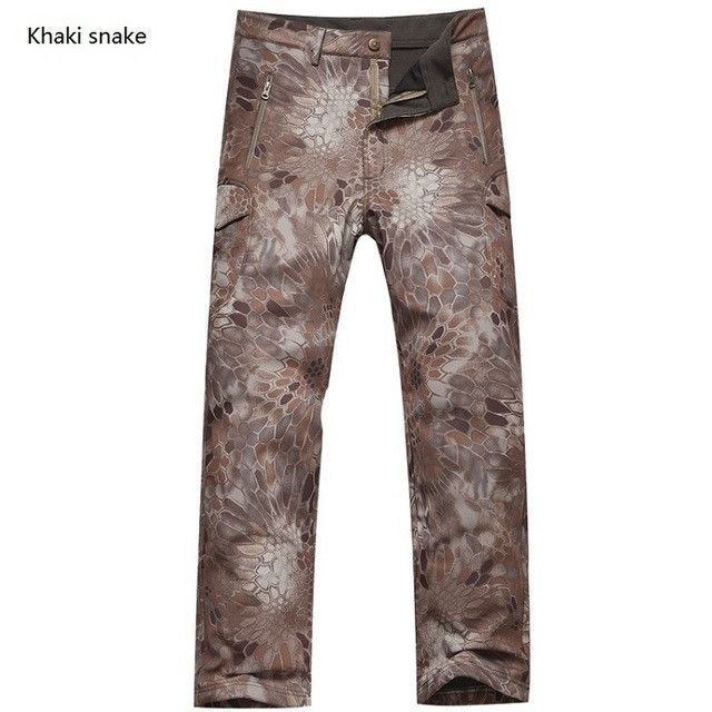 Winter Shark Skin Soft Shell Tactical Military Camouflage Pants Men Windproof Waterproof Warm Camo Paintball Army Fleece Pants