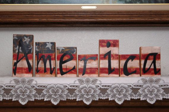 America - Wood Letter Blocks - Patriotic or 4th of July Decoration on Etsy, $32.50