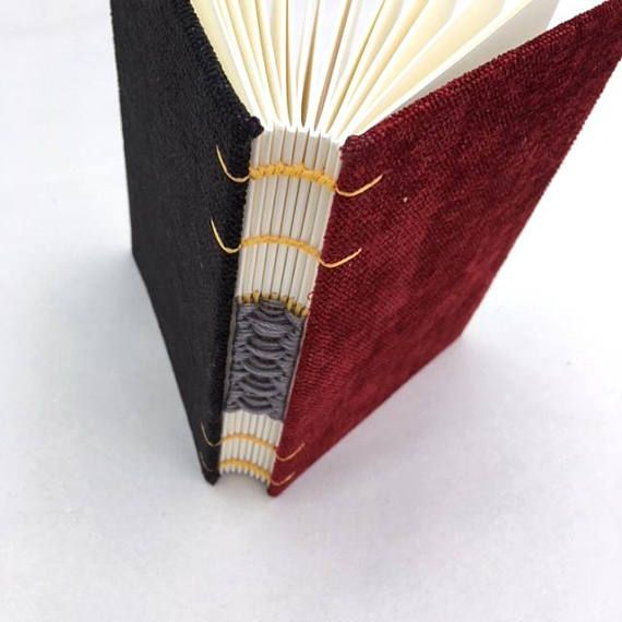 A6 journal Coptic notebook black burgundy wine woven