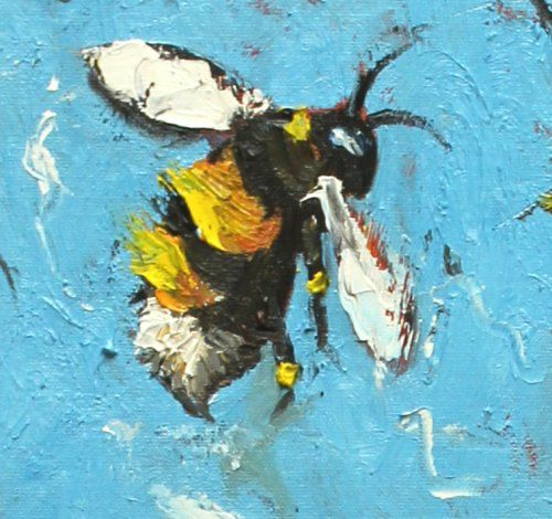 Bee painting 206 24x36 inch original oil painting by Roz by RozArt