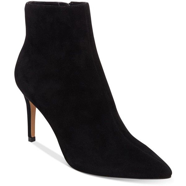 Steven by Steve Madden Women's Logic Booties ($83) ❤ liked on Polyvore featuring shoes, boots, ankle booties, black suede, suede boots, pointed toe booties, suede leather boots, pointy-toe boots and steven by steve madden boots