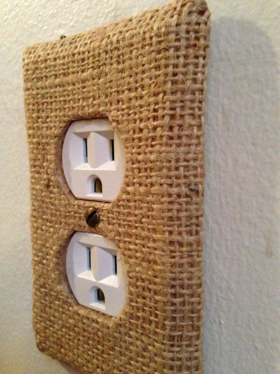Burlap Covered Outlet Cover.  Topical bedroom
