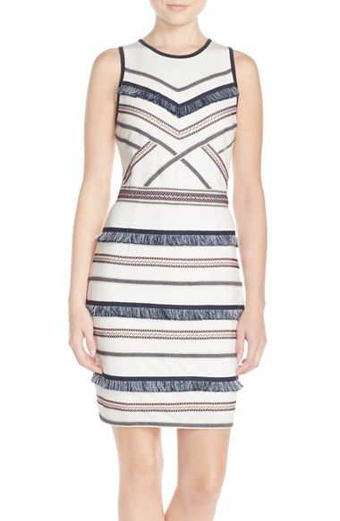 $108 Adelyn Rae Embroidered Fringe Jersey Sheath Dress available at #Nordstrom