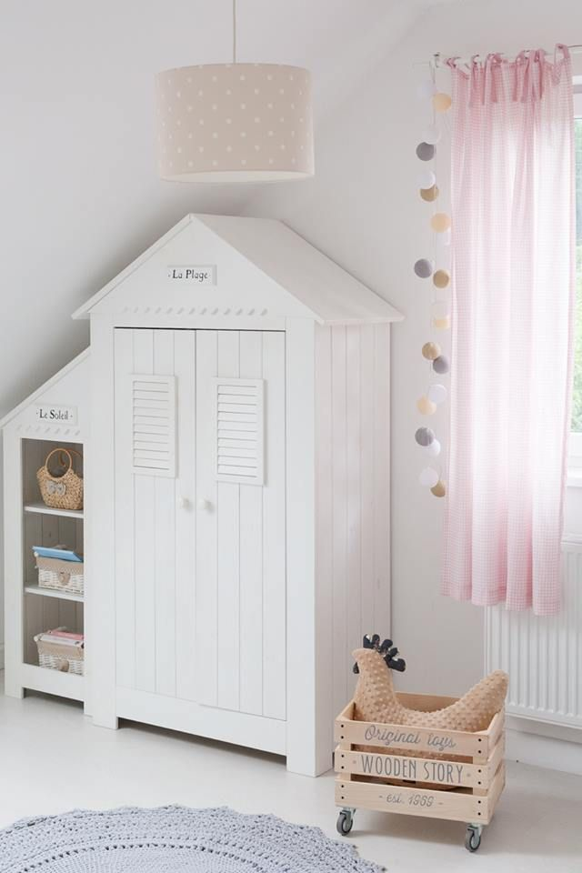 Modern Wardrobe In White With Pink U0026 Grey Accents. Perfect For Little Girl  Nursery.