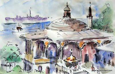 LAURA CLIMENT Estambul. Topkapi. Watercolor. Acuarela.