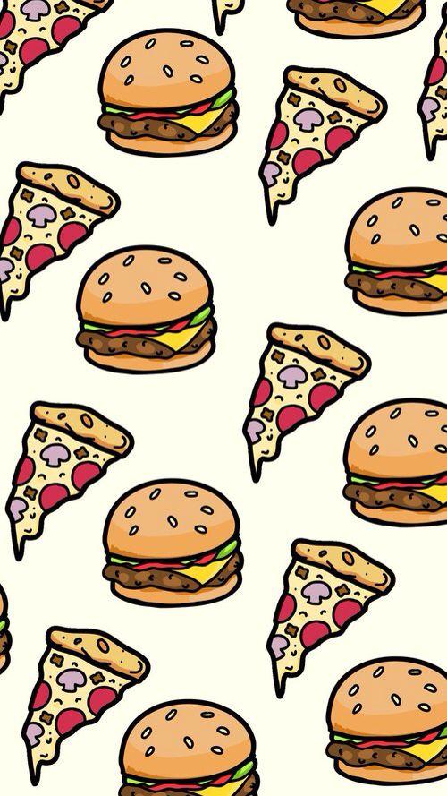 Hambúrguer e pizza