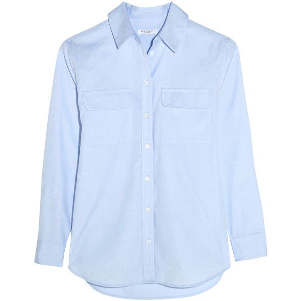 Equipment Signature cotton-chambray shirt (995 RON) ❤ liked on Polyvore featuring tops, shirts, blue, light blue top, roll top, cotton shirts, blue top and light blue shirt