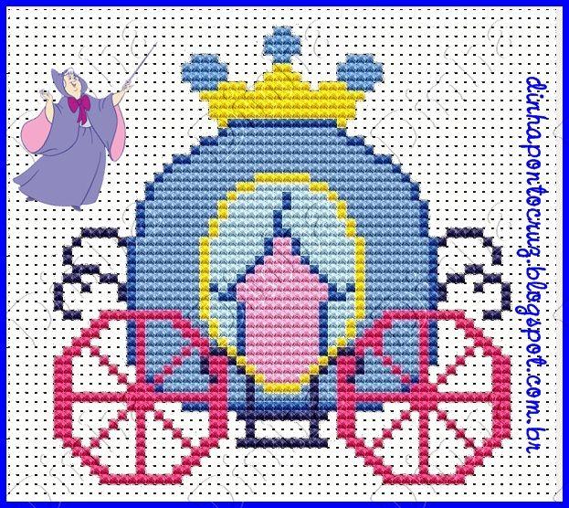Cinderela carruagem ponto cruz