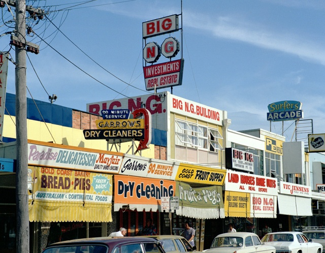 advertising signs, surfers paradise, 1975