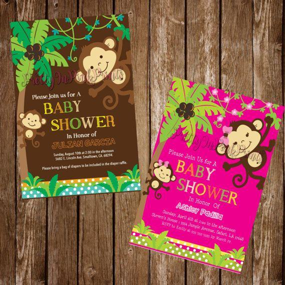 Mono bebé ducha invitación