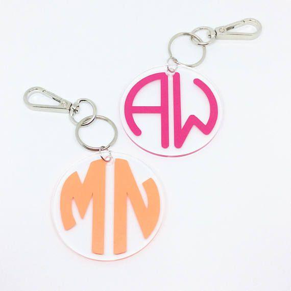 Monogram Keychain Initial keychain Gift for her Birthday