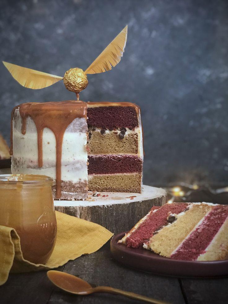 Harry Potter Layer Cake – Vanillekuchen mit Karamell und Frischkäsecreme