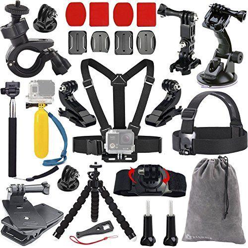 Cámara Vanwalk 20 en 1 Set de accesorios GoPro para GoPro héroe 4 Hero 3 + 3 héroe del héroe 2 y GoPro héroe: Correa extensible Cabeza de mano Monopod + + + arnés de pecho 360 ° Grado correa de muñeca + ventosa + Plana y curvada Adhesive Mounts + manillar de la bici monte / Tija de sillín / poste de montaje del trípode + + J-Hook Monte + Mochila clip del sombrero también es compatible con la cámara SJ4000 SJ5000  Paquete Incluye:  1 * Correa del pecho 1 * Cinta de