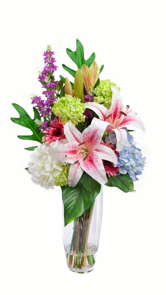 "Artificial Pink Lily, Lilac, and Hydrangea Bouquet - 28"" Tall"
