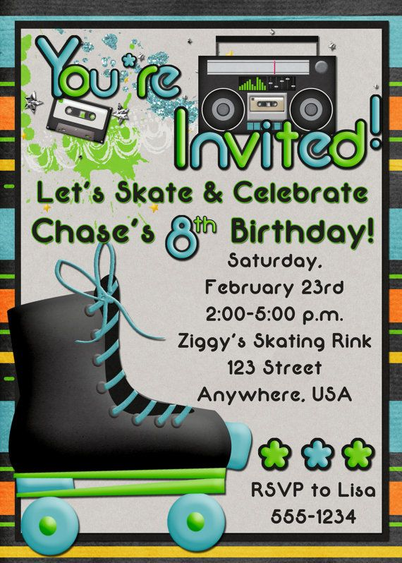 17 best images about skate party on pinterest | 10th birthday, Party invitations