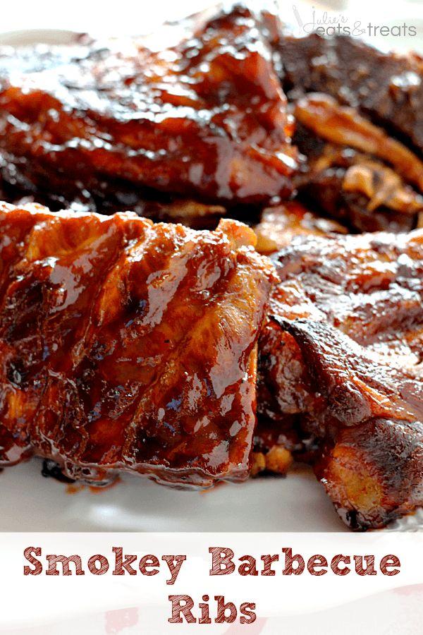 Smokey Barbecue Ribs ~ Smokey, Tender Ribs Loaded in a Homemade Barbecue Sauce! ~ http://www.julieseatsandtreats.com