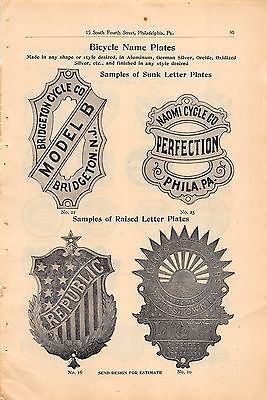 BRIDGETON REPUBLIC CYCLE COMPANY ANTIQUE BIKE SALES CATALOG ADVERTISING PAGE